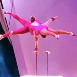 Cane balance duo adagio act